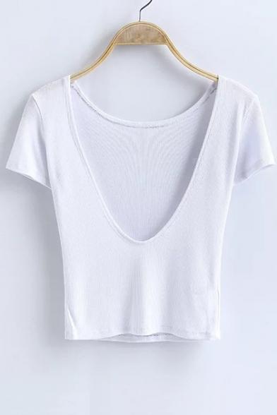 Neck Sexy Hot Plain Sleeve Round Fashion Back Open Cropped Shirt Short T TZrZEH