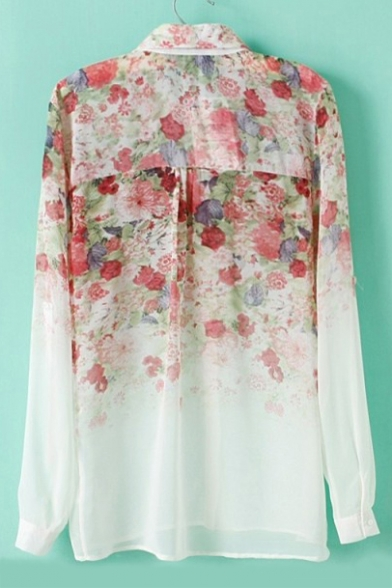 Fashion Lapel Long Ombre New Printed Chiffon Shirt Floral Collar Sleeve vIq11w