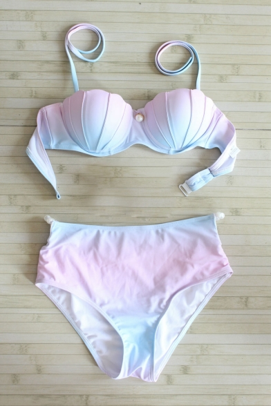 Women's Color Block Halter Top High Waist Bottom Swimwear Sets