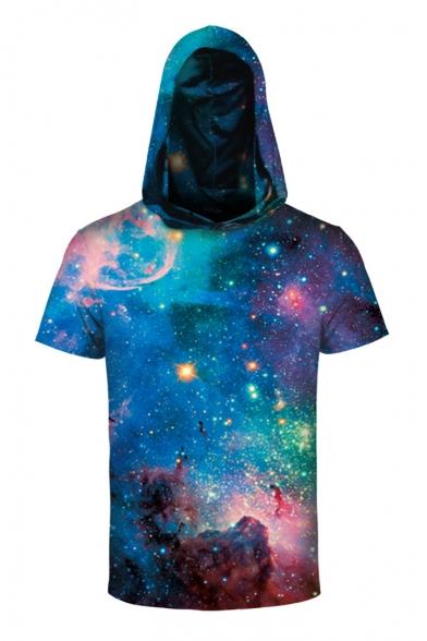Fantasy Galaxy 3D Color Block Printed Short Sleeve Hooded Tee