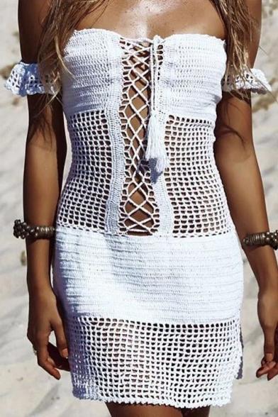 Hot Fashion Knit Hollow Out Off The Shoulder Short Sleeve Plain Mini Dress