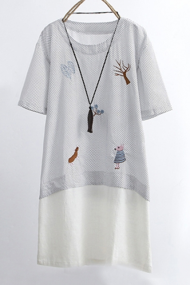 d7870d245cf New Arrival Embroidery Pattern Polka Dots Short Sleeve Round Neck Patchwork  Mini T-Shirt Dress ...