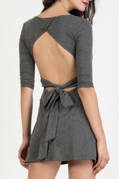 New Arrival Open Back Bow Back Scoop Neck Half Sleeve Plain Mini A-Line Dress