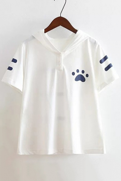 Summer's Fresh Cartoon Cat Printed Hooded Short Sleeve Casual Cotton Tee
