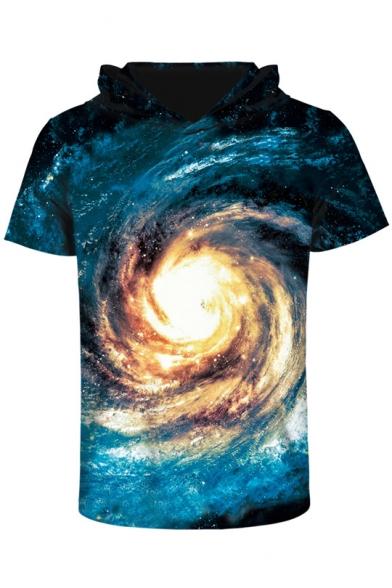 Мужская с капюшоном с коротким рукавом Галактики 3D печатные футболка