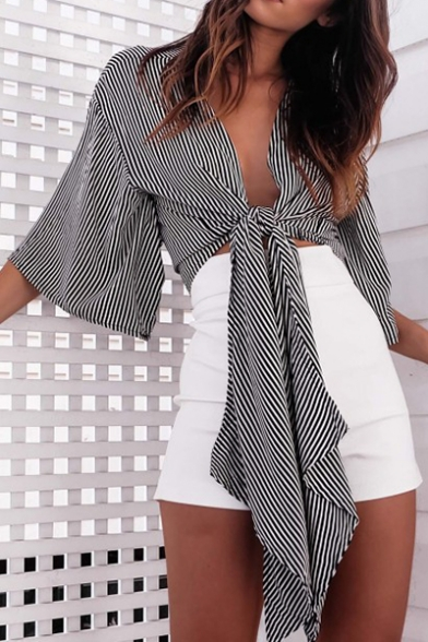 Women S Sexy Knotted Hem Bell Half Sleeve Striped Cropped