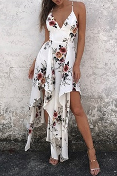 Boho Floral Printed Spaghetti Straps Holiday Beach Asymmetrical Slip Dress