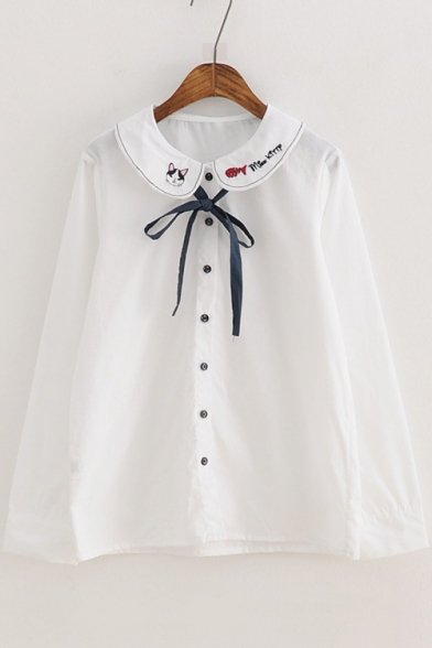 e89ed32b Letter Cat Embroidered Collar Bow Tie Front Long Sleeve Casual Buttons Down  Shirt