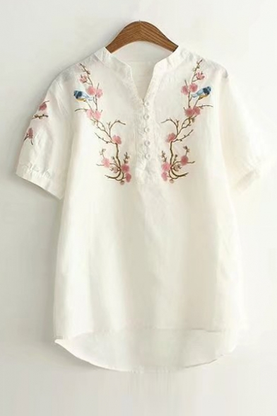 633f572d2bc0c5 V Neck Buttons Down Short Sleeve Chic Floral Embroidered Pullover Blouse ...