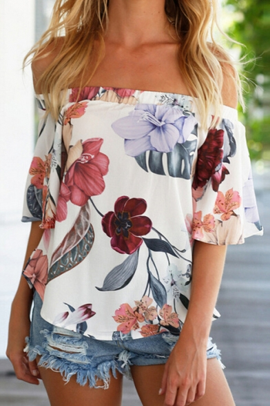 Blouse Off Fashion Pullover Printed Sleeve Short Shoulder The Hot Floral Azwd5qvgv