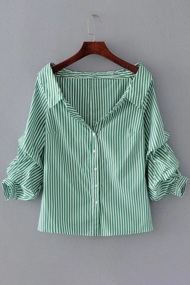 Lapel Collar Long Sleeve Striped Pattern Buttons Down Shirt