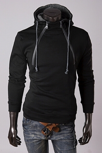 New Arrival Double Zip Up Long Sleeve Fitted Plain Hoodie