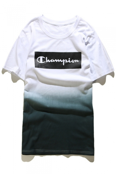 8c23188da3f4 New Arrival Tie-Dyed Color Block Champion Printed Short Sleeve Round Neck  Tee