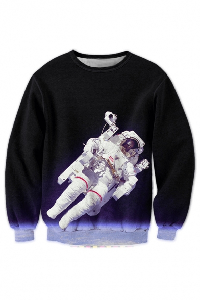 Neck Long Sleeve Printed Astronaut Round New 3D Pullover Space Sweatshirt Fashion qAwUn0Y0O