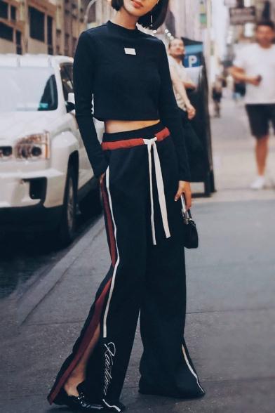 New Stylish Striped Printed Side Split Cuff Elastic Drawstring Waist Loose Sports Pants