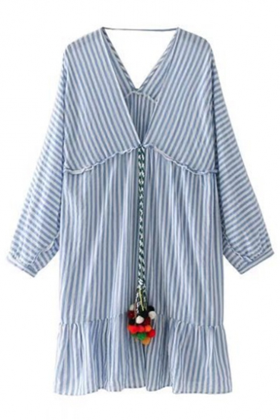 Plunge Neck Long Sleeve Classic Striped Printed Ruffle Hem Loose Mini Dress