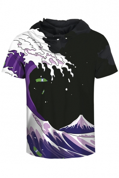 Block Sleeve Wave Short Color Hooded Printed Digital Tee YPqzFq