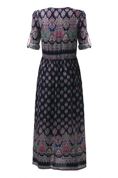 Hot Fashion Boho Style Plunge Neck Buttons Down Split Front Maxi Beach Dress