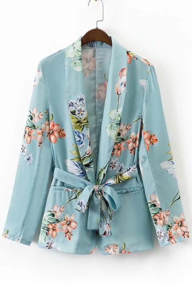 New Arrival Chic Floral Printed Long Sleeve Tie Waist Blazer Coat