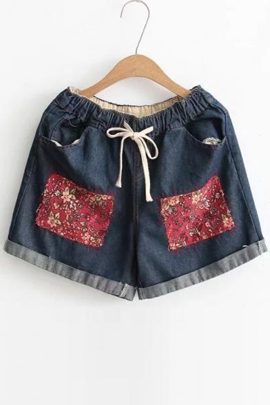 New Arrival Floral Appliqued Drawstring Elastic Waist Turn Up Hem Denim Shorts