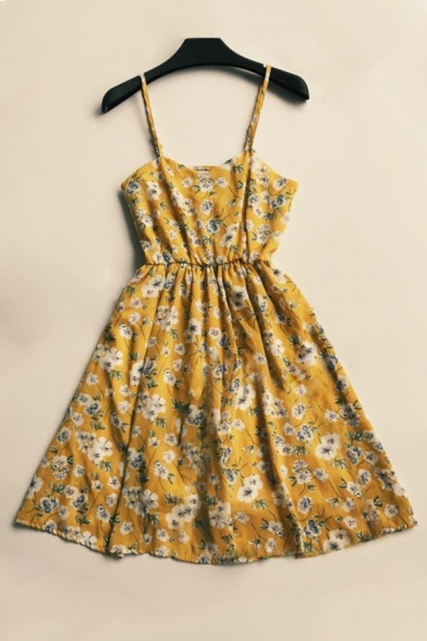 Women's Crisscross Back Floral Printed Sleeveless Mini Cami Dress