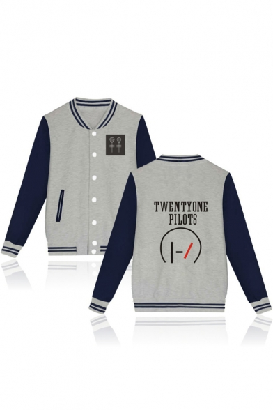Color Block Letter Printed Single Breasted Casual Long Sleeve Baseball Jacket