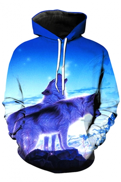 New Arrival 3D Snow Field Wolf Printed Long Sleeve Casual Hoodie