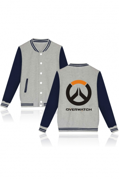 Single Breasted Letter Jacket Long New Sleeve Arrival Baseball Collar Up Printed Stand Bqapz7