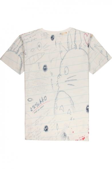 Casual Pattern Stylish Cartoon Neck Round Short Graffiti Sleeve New Tee 8WSn1xgg