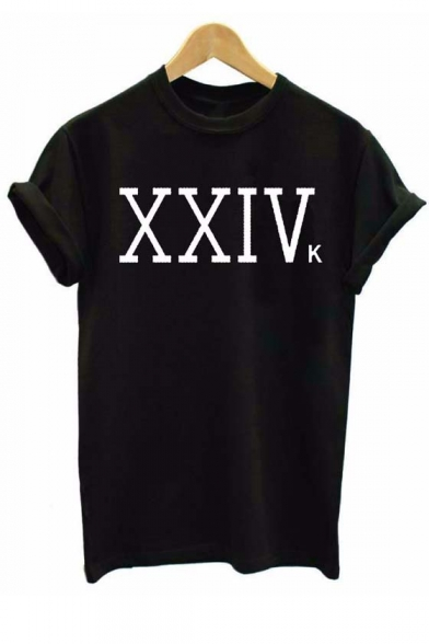 Simple XXIVK Letter Printed Short Sleeve Round Neck Tee