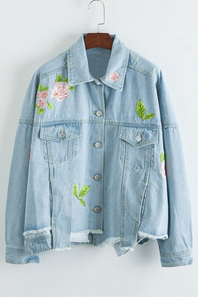 Chic Floral Embroidered Lapel Collar Long Sleeve Buttons Down Denim Coat