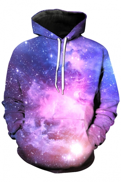 3D Fashion Block Color Hoodie Galaxy Long Sweatshirt Hooded Sleeve rUxTUZ