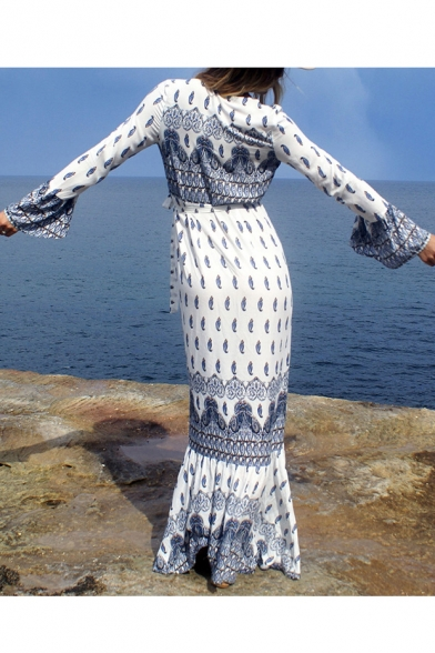 Holiday Beach Plunge Neck Long Sleeve Maxi Split Wrap Dress