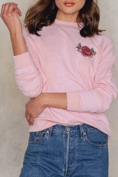 Hot Fashion Floral Embroidered Round Neck Long Sleeve Casual Pullover Sweatshirt