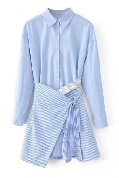 Lapel Collar Long Sleeve Striped Printed Mini Shirt Dress