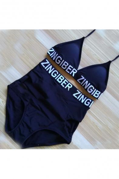 Letter Printed Halter Neck Top High Waist Bottom Bikini Swimwear