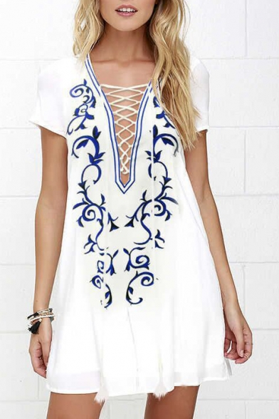 Plunge Neck Lace-Up Front Short Sleeve Floral Printed Mini A-Line Dress