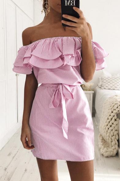 319923009c8c Ruffle Hem Striped Printed Off The Shoulder Tie Waist Mini Bodycon Dress ...