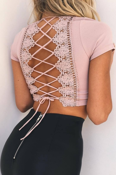 Neck Tee Lace Short Sleeve Up Cropped Back V Sexy Plain POgxUww