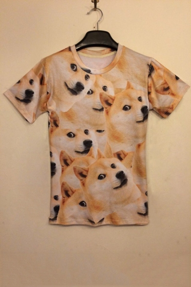 Adorable Short Akita 3D Neck Tee Sleeve Dog Round Printed rIrq5