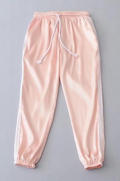 Striped Printed Side Elastic Drawstring Waist Casual Leisure Sports Pants