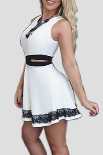Women's Contrast Cutout Waist Sleeveless Round Neck Mini A-Line Dress