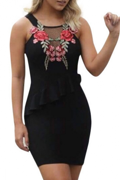 Chic Floral Embroidered Straps Sleeveless Mini Bodycon Dress