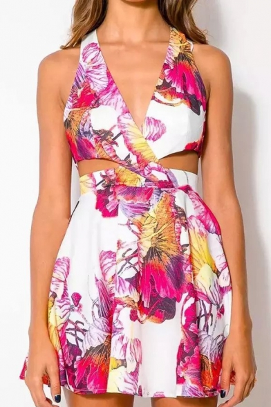 Chic Floral Printed Plunge Neck Sleeveless Cut Out Waist Zip Back Mini A-Line Dress