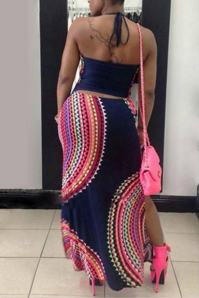 New Fashion Halter Neck Sleeveless Color Block Maxi Bodycon Dress