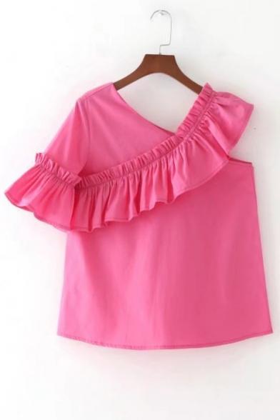 New Fashion Ruffle Hem V Neck Short Sleeve Plain Casual Pullover Blouse