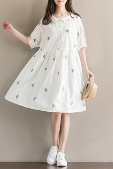 abf67ae18cc8 Summer s Fresh Cactus Pattern Collared Half Sleeve Midi Smock Dress -  Beautifulhalo.com