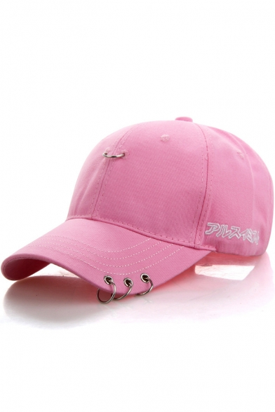 Chic Embroidery Japanese Letter Outdoor Baseball Cap with Metallic Rings