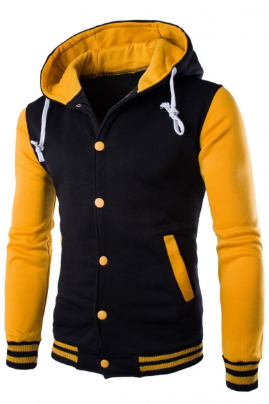 Long Contrast Coat Hoodie Breasted Drawstring Sleeve Single Hooded 8dwRdrq