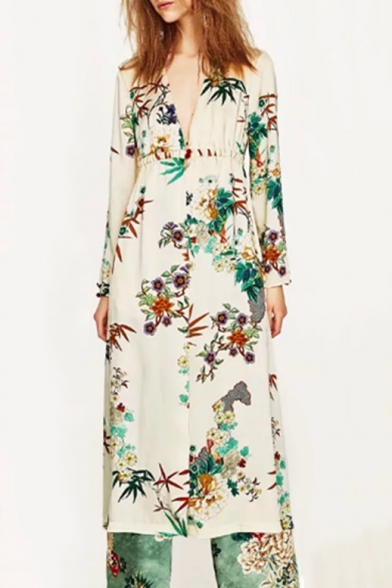 Floral Printed Long Sleeve Plunge Neck Tunic Sun Protection Kimono Coat